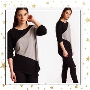 Joan Vass Sm Asymmetric  color-block sweater (C5)